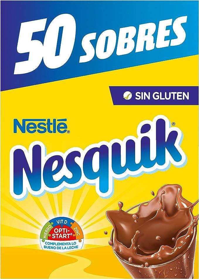 Nestlé Nesquik Cacao Soluble Instantáneo - 50 Sobres: Amazon.es ...