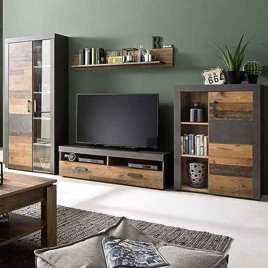 Wohnwand Indy Set 10 teilig Holz graphit grau Matera Wohnzimmer Anbauwand  mit LED