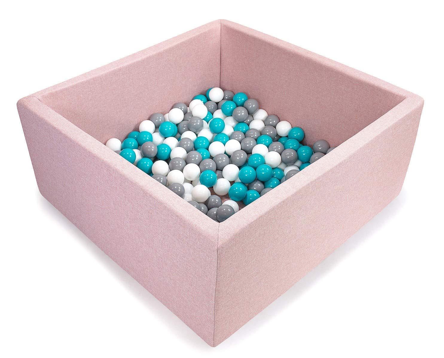 Piscine Rose Bébé  Blanc, gris, Turquoise  Tweepsy Bébé Piscine A Balles pour Enfants Bambin 250 Balles 90x90X40cm - Fabriqué en EU - BKWZ1N - Piscine Noire  Transparent, Rose Clair, Perle