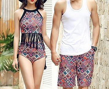 HOMEE Traje de baño de Parejas Falda Split Bikini Beach Shorts de ...
