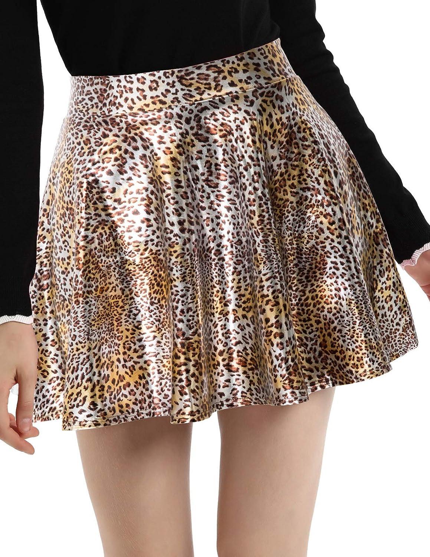Womens Plus Size Shiny Flared Pleated Mini Skater Skirt Leopard 3XL