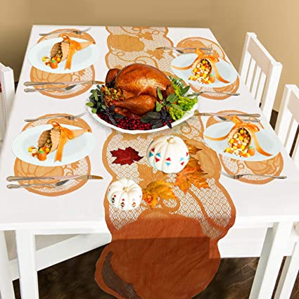 Mosoan Thanksgiving Table Runner and Placemats Set of 5| 1PC Pumpkin Harvest Lace Table Line (13 x 72 Inch), 4 PCS Lace Table Placemats (12 x 18 Inch) for Thanksgiving Dinner Table Party Supplies best thanksgiving table runner