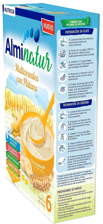 Alminatur Papilla de Multicereales con Plátano a Partir de los 6 Meses - Paquete de 7 x 250 gr - Total: 1.75 kg: Amazon.es: Alimentación y bebidas
