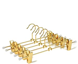 """Amber Home Shiny Gold 12"""" Metal Pants Hanger 20PCS, Heavy Duty for Slacks Skirt Trousers with 2-Adjustable Clips and Swivel Hook (Length 12"""" 20PCS)"""