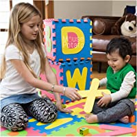 UJIE A-Z Small and Capital Alphabets EVA Puzzle Floor Mat for Kids (Multicolour, 1 x 1 ft Tiles) -26 Pieces