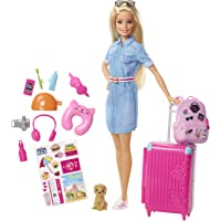 Barbie Travel Doll Set with Puppy, Luggage & Accessories (Blonde)