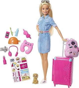 Barbie Voyage Poupée Blonde Avec Sa Valise Et Son Sac à Dos Figurine De Chien Autocollants Et Accessoires Jouet Pour Enfant Fwv25