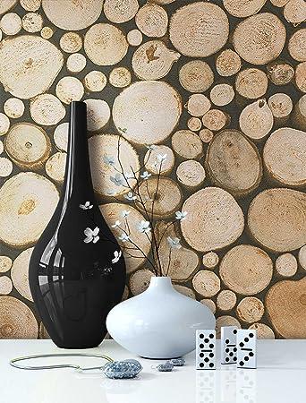 Tapete Holz Muster In Beige Braun | Schöne Edle Tapete Im Brennholz Design  | Moderne 3D