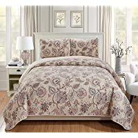 Luxury Home Collection Quilted Reversible Coverlet Bedspread Set Floral Printed Beige Pink Blue #Hilton