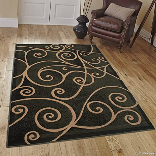 Allstar 8×10 Sage Green and Black Modern and Contemporary Machine Carved Rectangular Accent Rug with Mocha Swirl Design 7 9 x 10 1