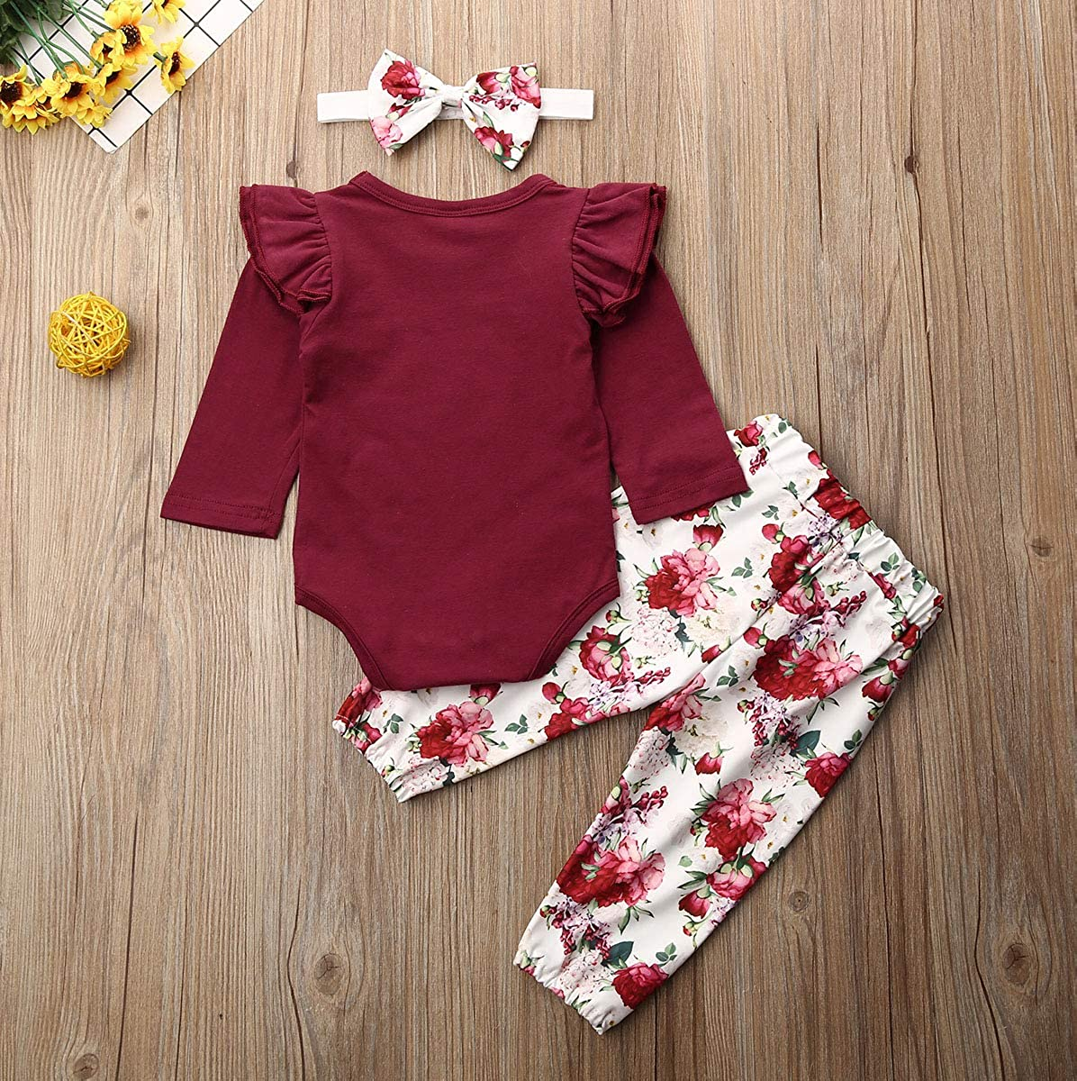 Emmababy Newborn Girls Clothes Baby Romper Outfit Pants Set Long Sleeve Toddler Infant Winter Clothing