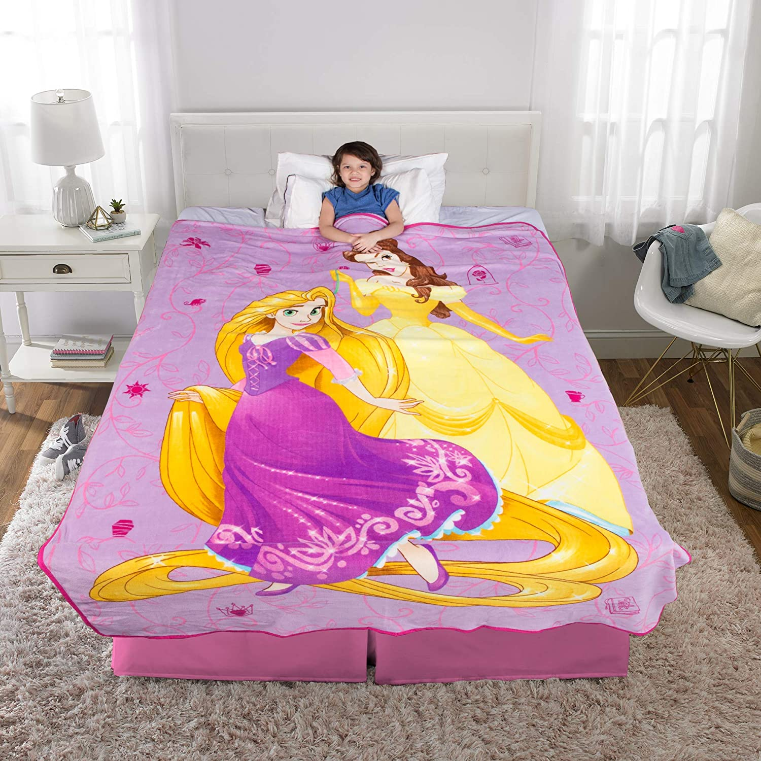 "Franco Kids Bedding Super Soft Plush Microfiber Blanket, Twin/Full Size 62"" x 90"", Disney Princess"