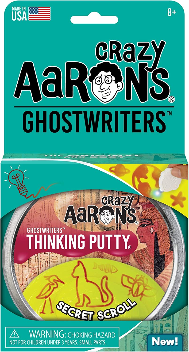 Crazy Aarons Thinking Putty 4 Tin Never Drives Out Draw with Reactive Glow Charger GHOSTWRITERS Secret Scroll