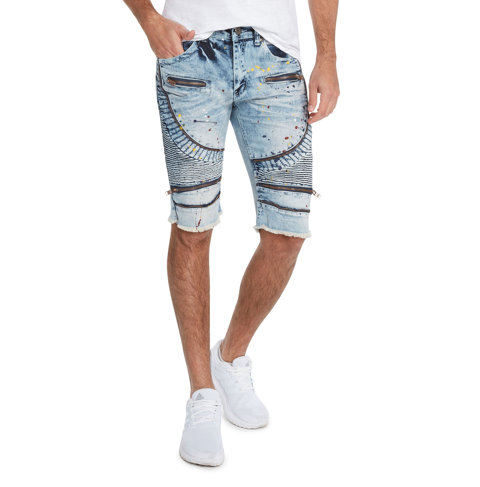 91d0ec81 BLEECKER & MERCER Men's Moto Ripped and Repaired Denim Jeans Shorts - Slim  Fit product image