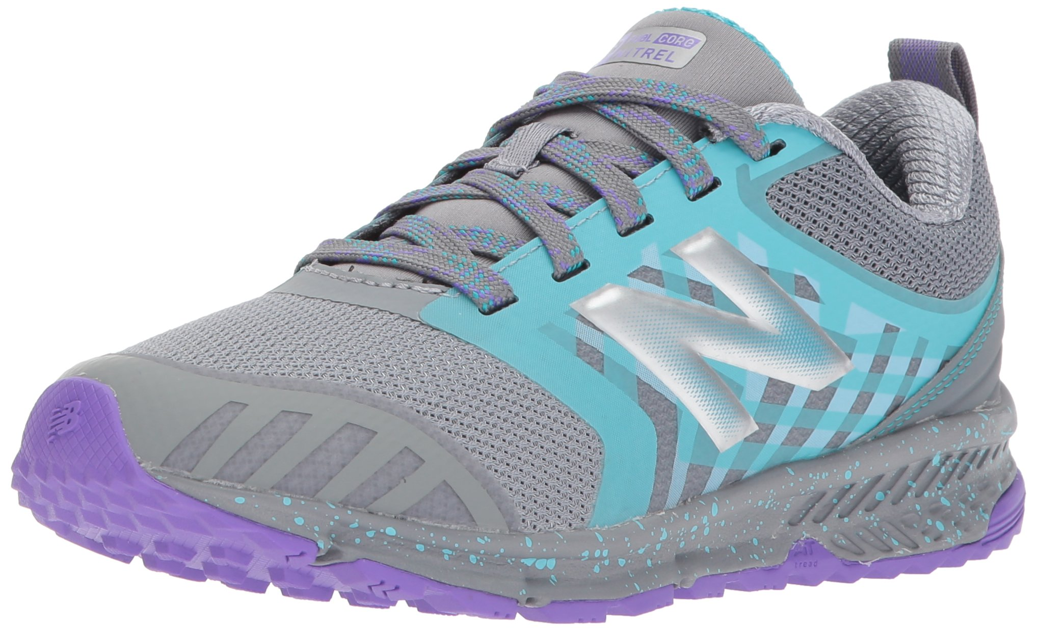 New Balance Girls' Nitrel v3 Trail Running Shoe, Grey/Pisces, 4 W US Big Kid