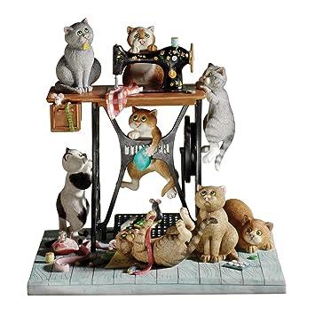 Comic And Curious Cats Enesco Sew Far Sew Good - Figura decorativa de gatos y maquina de coser: Amazon.es: Hogar