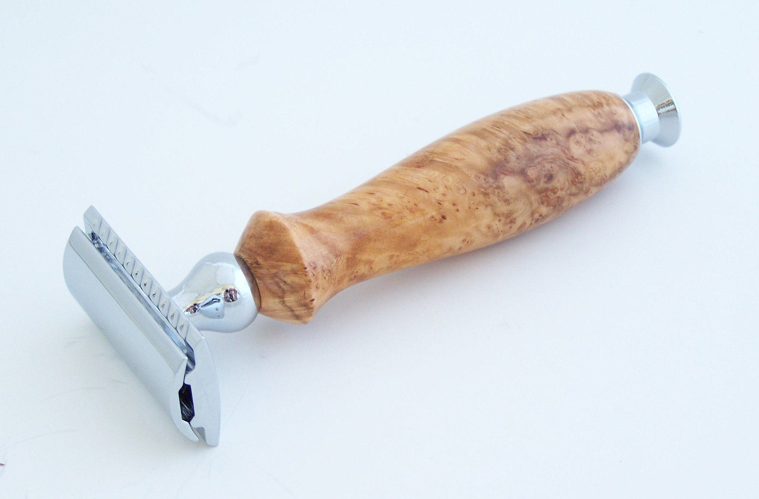 Cherry Burl Wood DE (Double Edge) Safety Razor Shaving Handle (C2)