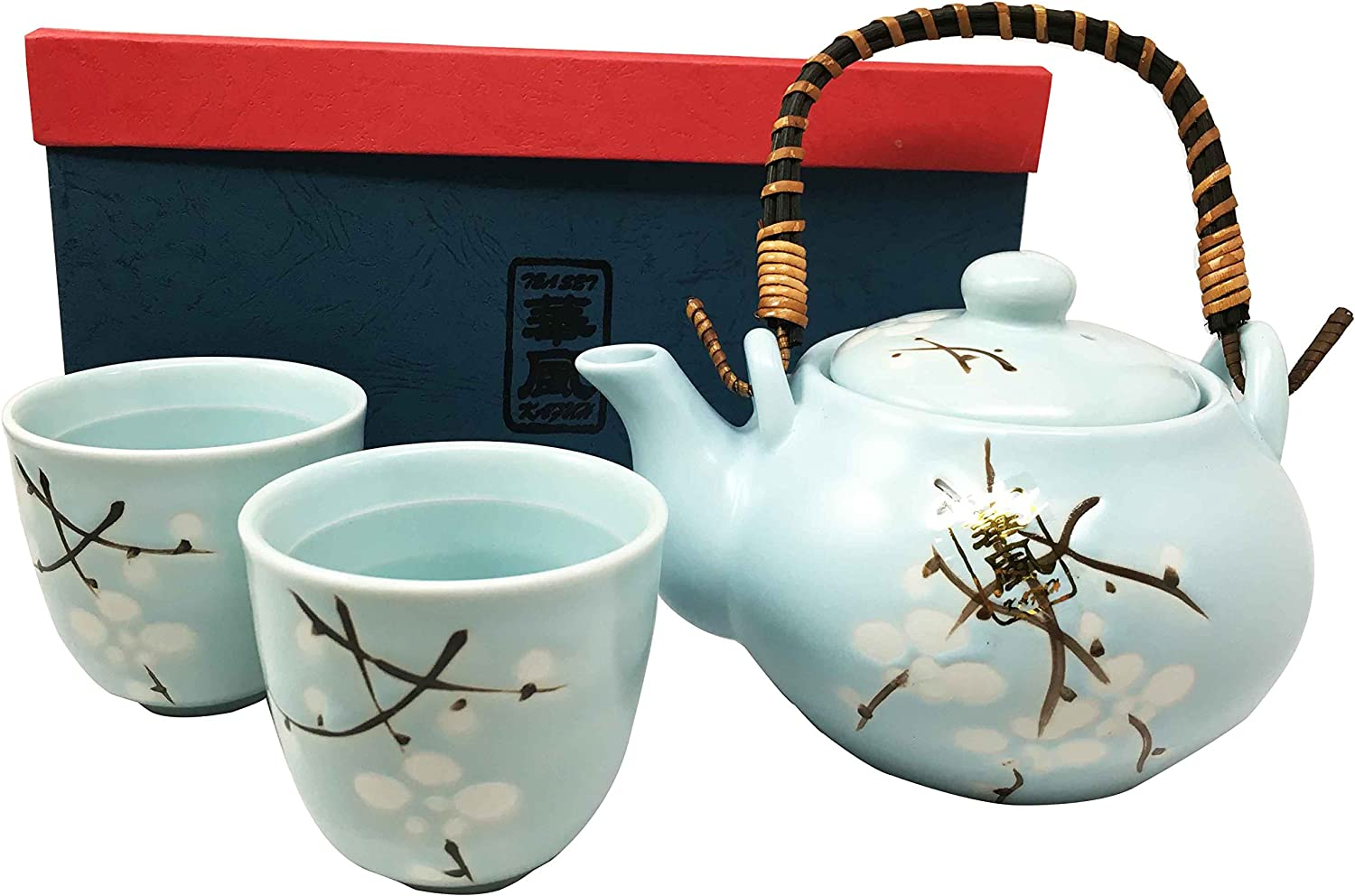 Japanese Design Sky Blue Cherry Blossom Sakura Tea Pot and Cups Set Serves 2 Excellent Home Decor Asian Living
