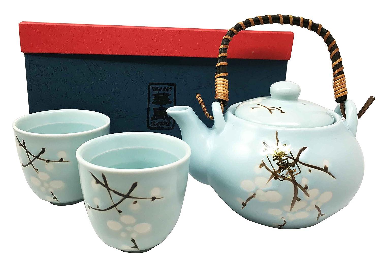 Japanese Design Sky Blue Cherry Blossom Sakura Tea Pot and Cups Set Serves 2 Excellent Home Decor Asian Living Gifts & Decors