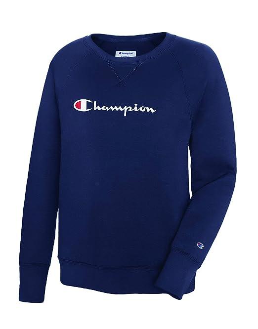 c992b803ab65 Champion Women's Powerblend Boyfriend Crew Neck Sweatshirt Sweater,  Imperial Indigo, X Large
