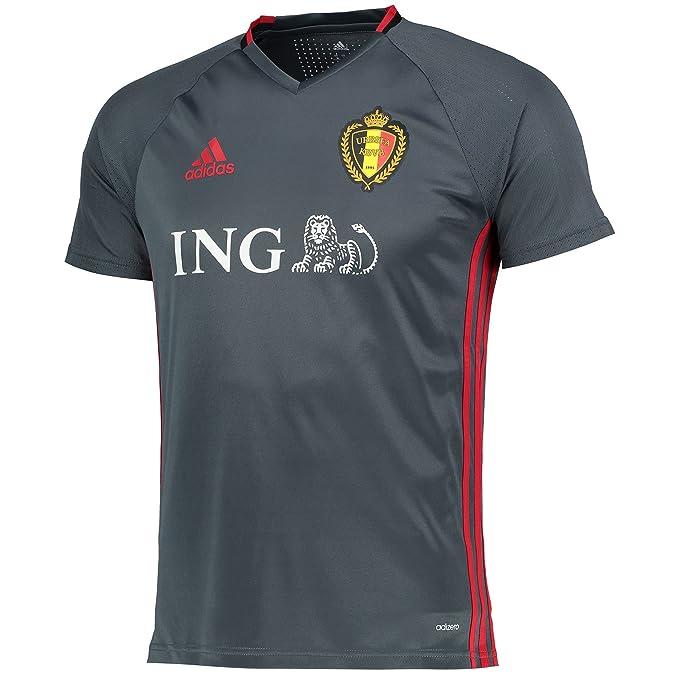 adidas Mens Gents Football Soccer Belgium National Team Training Jersey Dk Grey
