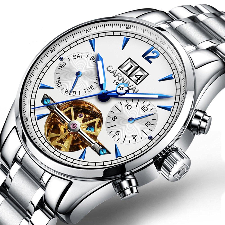 Men's Multifunction Calendar Analog Automatic Mechanical Watch Luminous Exhibition Movement Wrist Watches (Steel Band-White) B071NL5CQJSteel Band-White