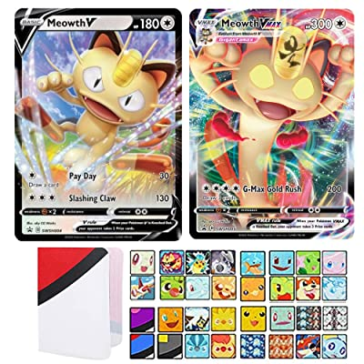 Totem World Bundle Meowth V & Meowth VMAX Sword & Shield Promo Pokemon Cards SWSH004 & SWSH005 with a Totem Mini Binder Collectors Album: Toys & Games