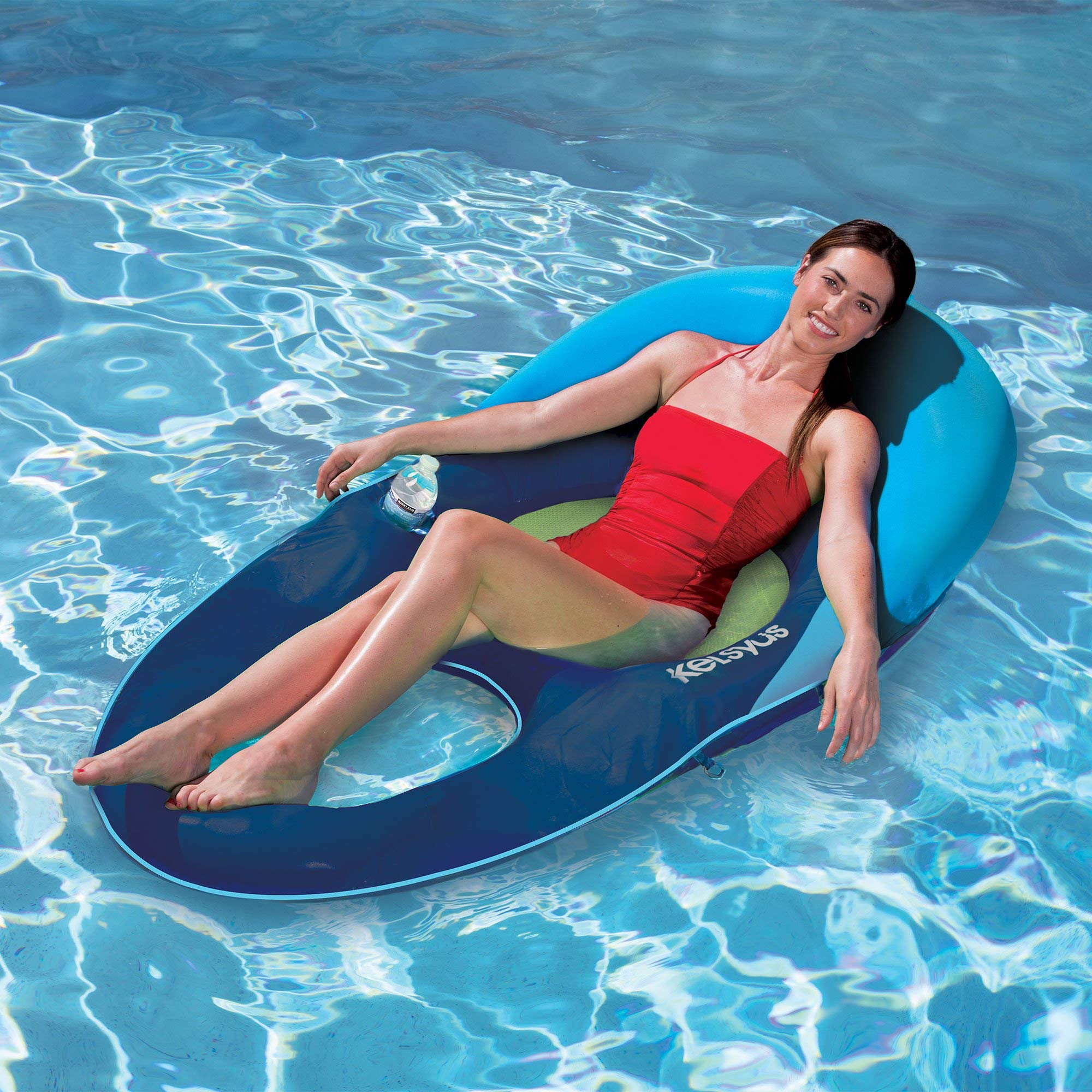 Kelsyus Deluxe Inflatable Floating Pool Lake Chaise Lounger, Blue and Green