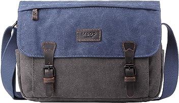 Troop London Canvas Leather Messenger Bag  52ce1e481da5a