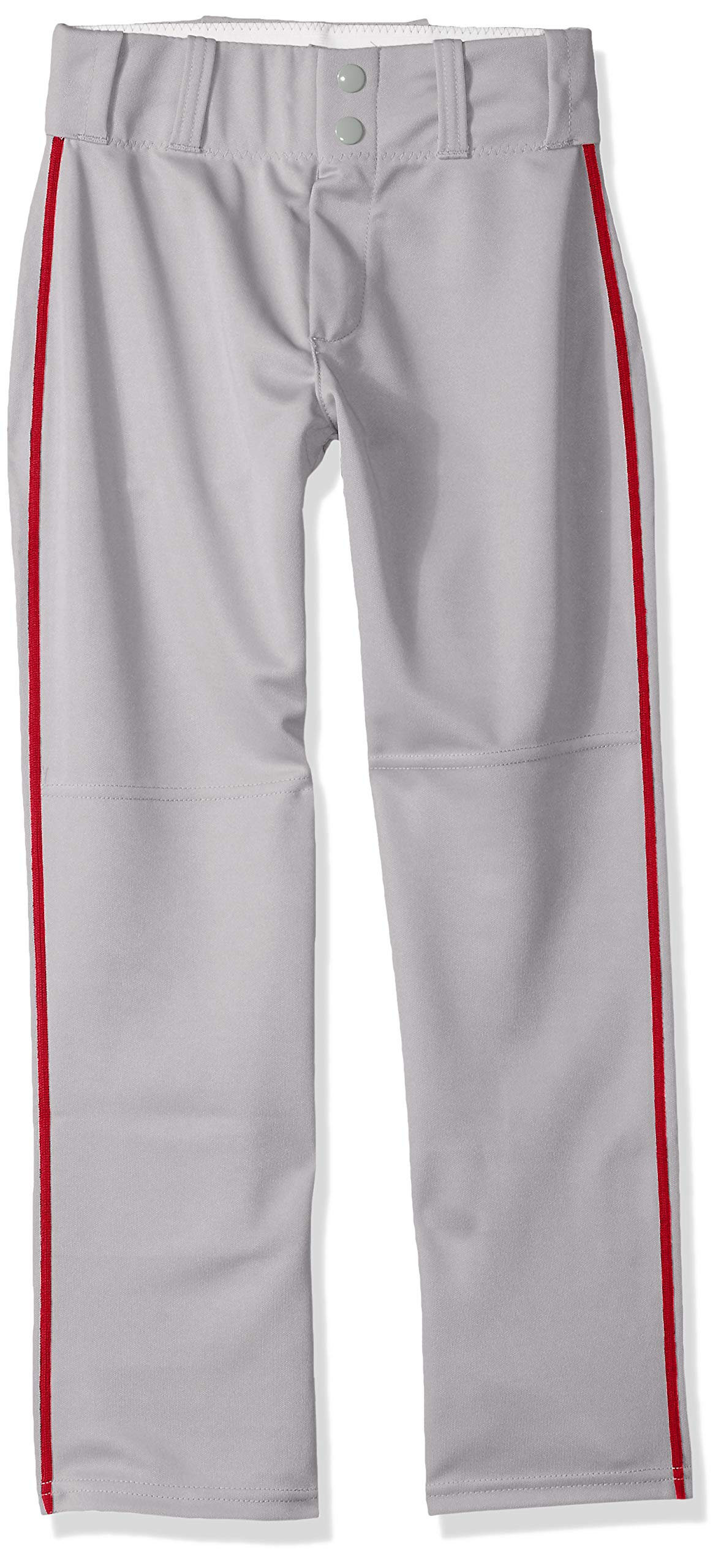 Alleson Ahtletic Boys Youth Baseball Pants with Braid, Grey/Scarlet, Small by Alleson Athletic