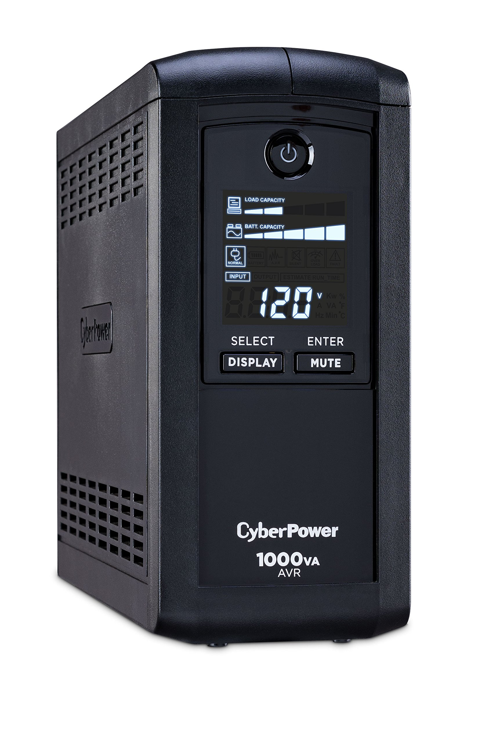 CyberPower CP1000AVRLCD Intelligent LCD UPS System, 1000VA/600W, 9 Outlets, AVR, Mini-Tower by CyberPower (Image #1)