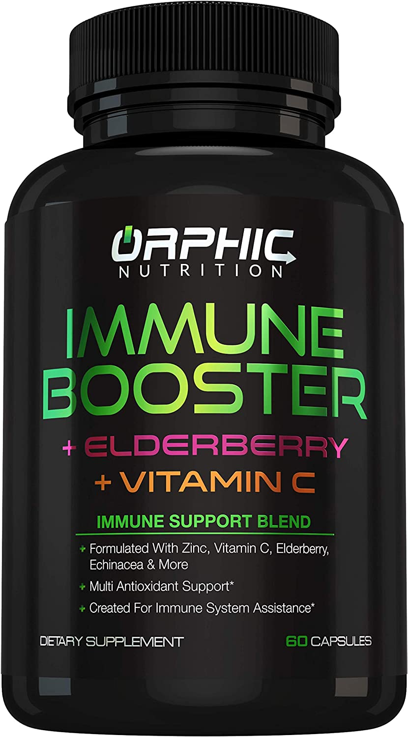 Immune Support with Elderberry Zinc Vitamin C & More - Natural Daily Immune System Supplement & Immunity Booster - Improves Energy & Health - with Powerful Antioxidants - 30 Servings