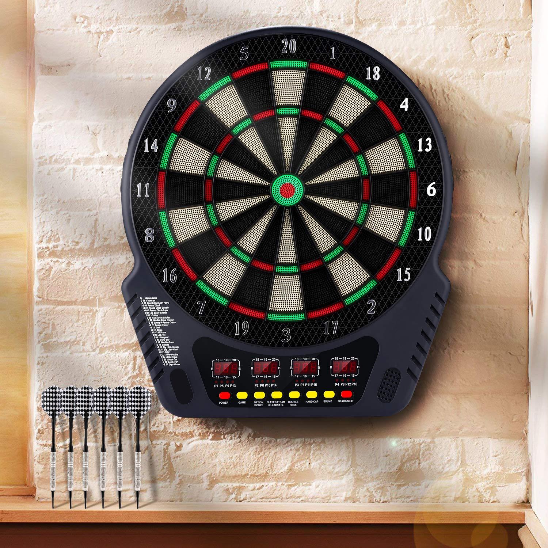 Indicador LED 4 f/ácil de Usar Botones de la Interfaz de Control de Volumen 7 DPPAN Dianas Electr/ónicas de Dardos con Madera Puertas 27 Juegos 243 Variantes para 16 Jugadores