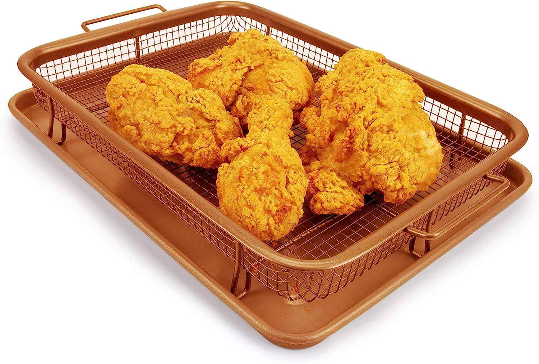 EaZy MealZ Air Fry Crisper Basket & Tray Set, Large, Copper, Rectangle Basket