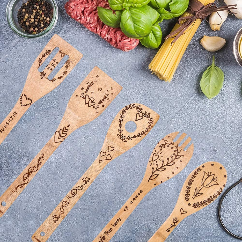 Folwer and Heart Printed Kitchen Utensils Set 5 Pieces Bamboo Wooden Cooking Spoon Kitchen Spatula Cookware for Non-Stick Pans Best Valentines Day Gifts for Wife Girlfriend Monther