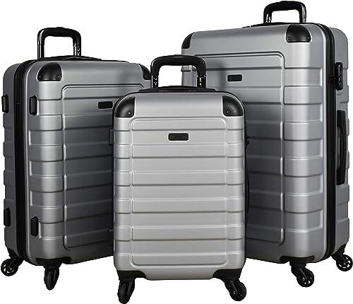 Travel Prime 3-Piece Hardside Spinner Luggage Set Silver