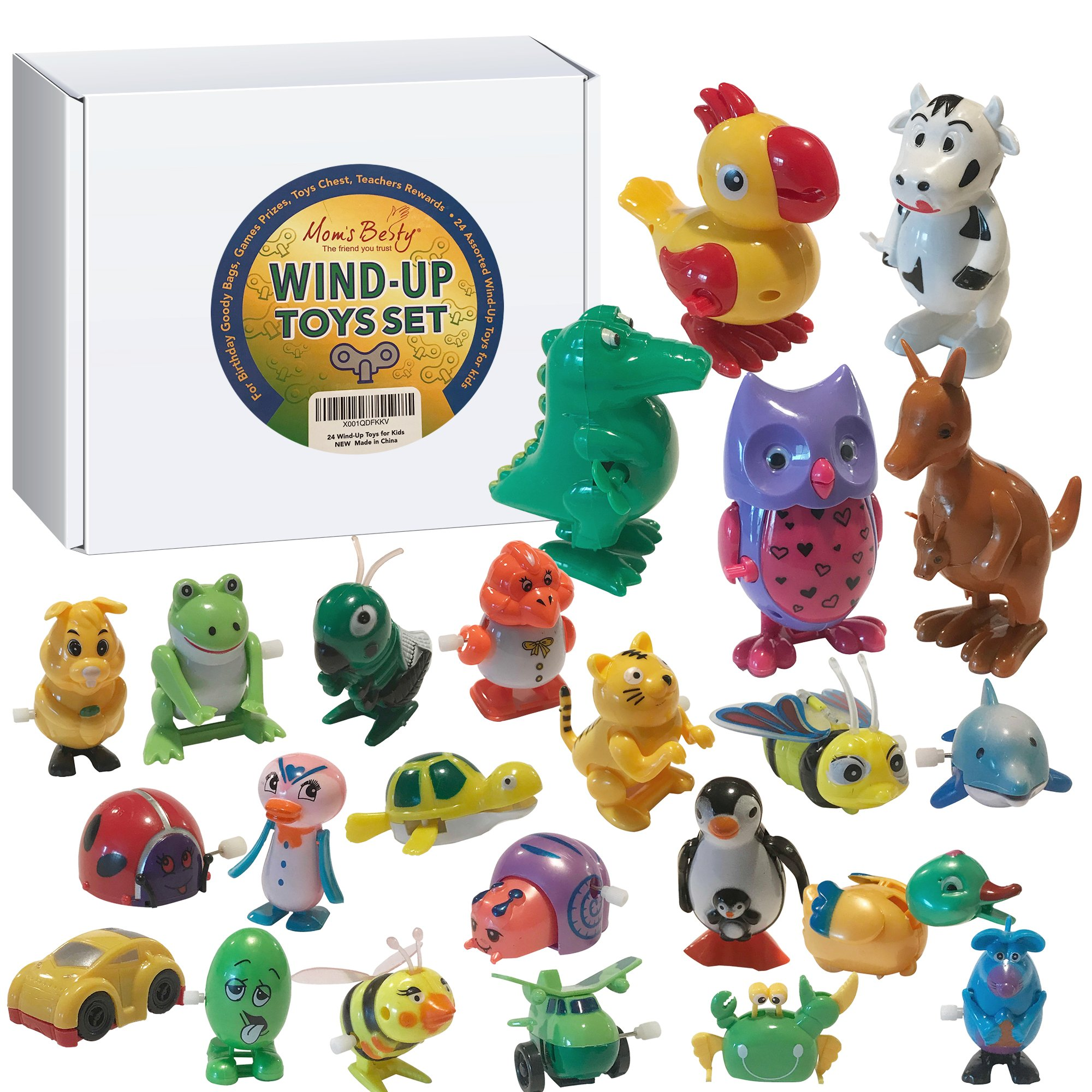 Wind Up Toys for Kids – Assorted 24pc Children Gift Pack – Bulk Wind-Up Toys for Party Favors, Birthday Goody Bags, Game Prizes, Toy Chests, School Awards – Mix of Big & Small Toys for Girls and Boys