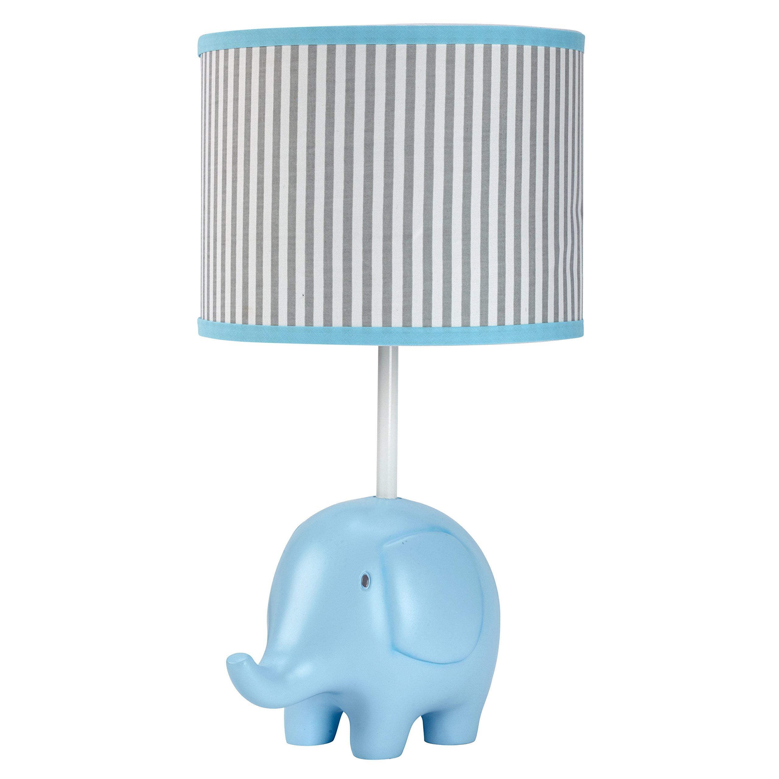 Zutano Elefant Blau Lamp and Shade, White/Blue/Grey