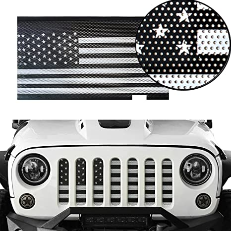 a57e4d22 Amazon.com: MOEBULB Front Grill Insert Steel American Flag Mesh Grille for  2007-2018 Jeep Wrangler JK & Unlimited 2/4 Door (White and Black, ...