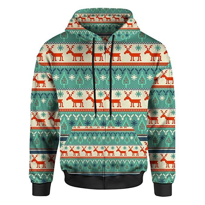 Christmas Sweaters For Men.Ugly Christmas Sweater Men Zip Up Hoodie At Amazon Men S