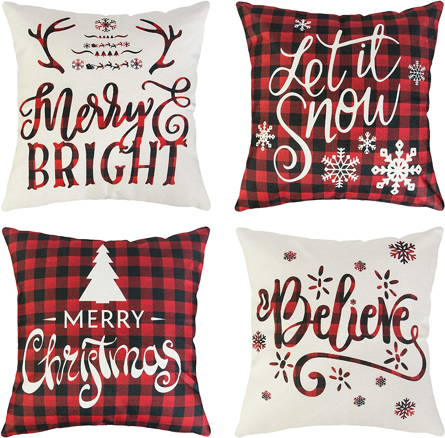 Merry Christmas on Snowflake Pillow Cover 18 x 18