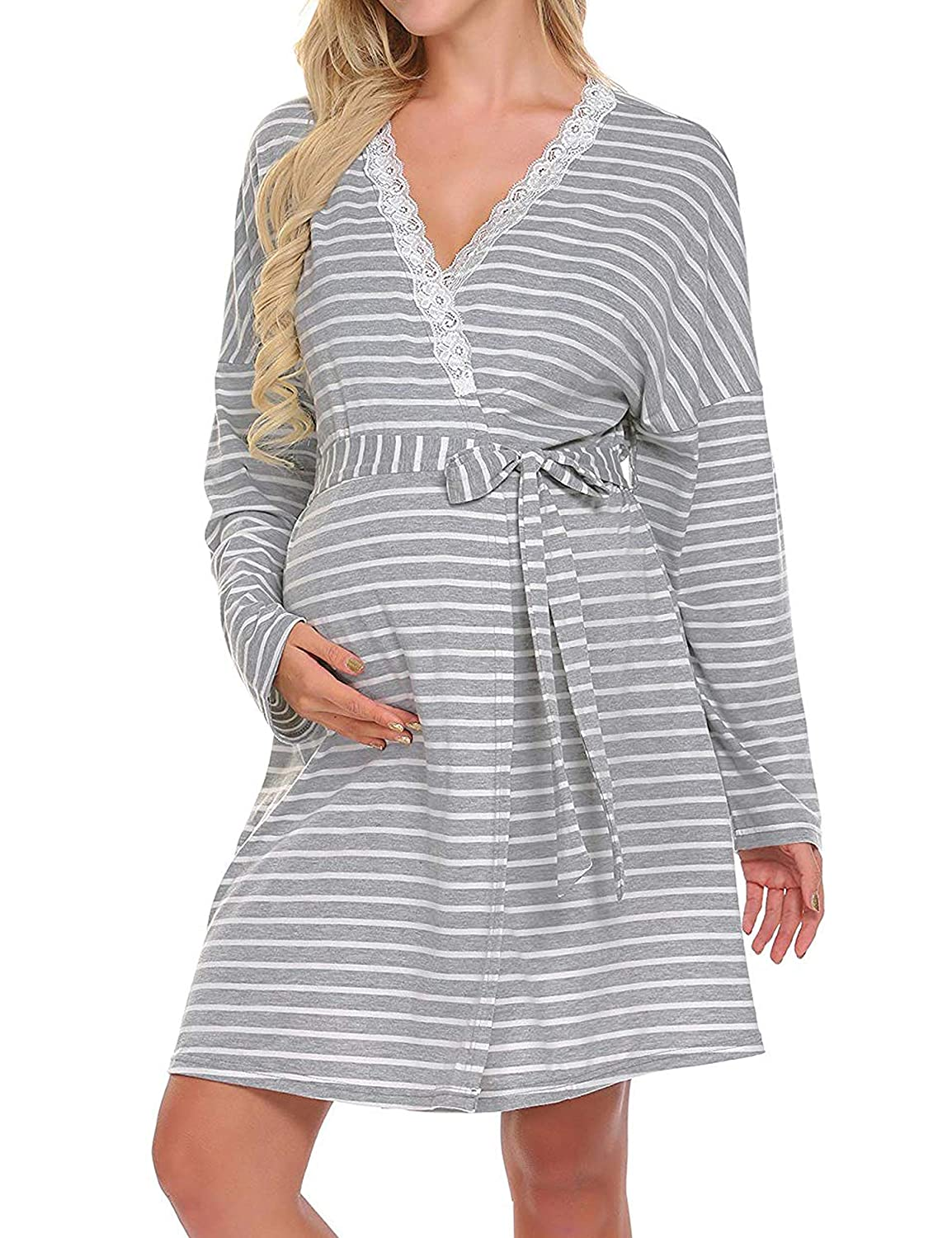 Odosalii Women's Striped Maternity Dress Labor Nursing Nightgowns Lace Nightdress Sleepwear