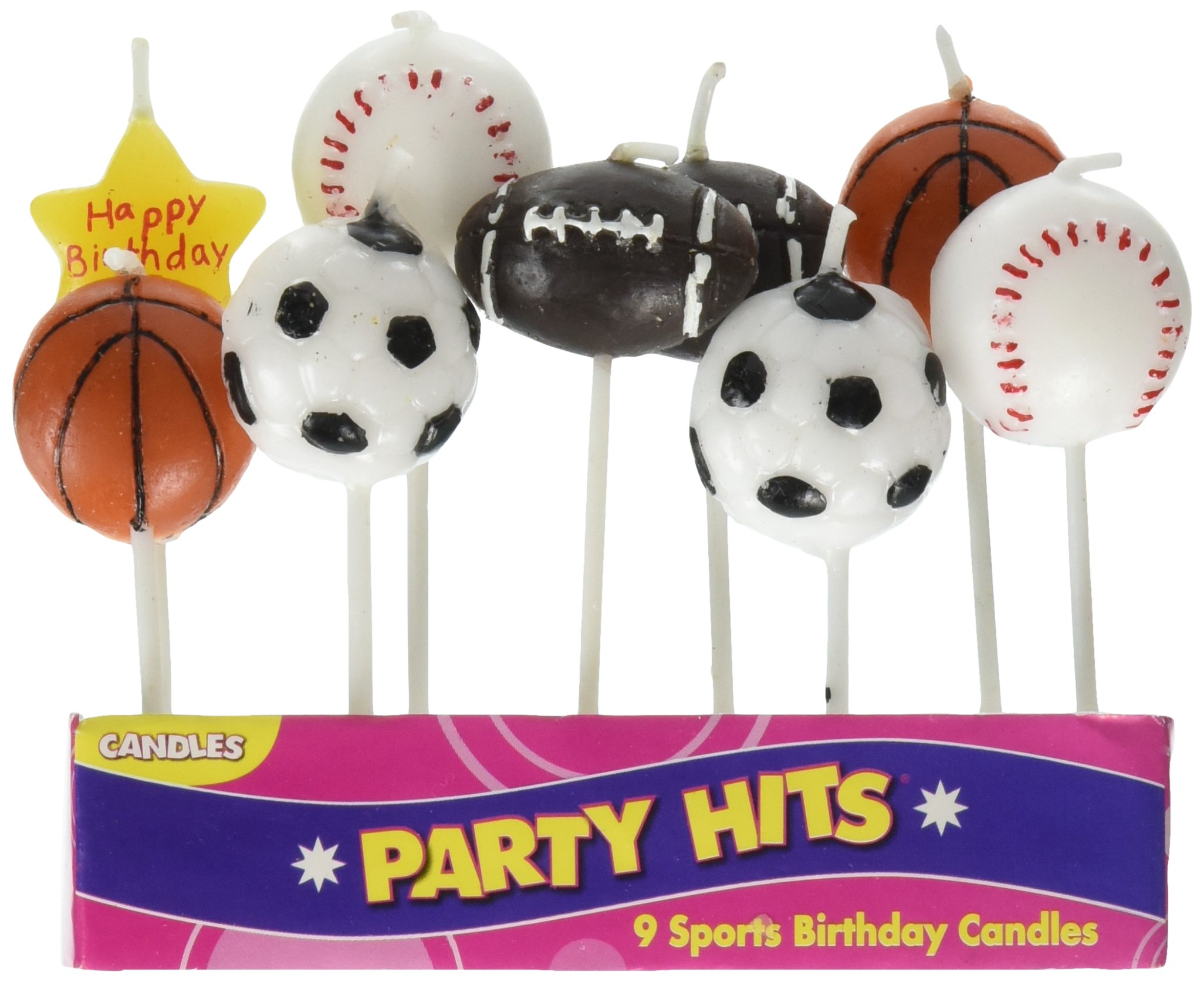 Oasis Supply 9-Piece Sports Balls Cupcake Cake Decorating Candles Set