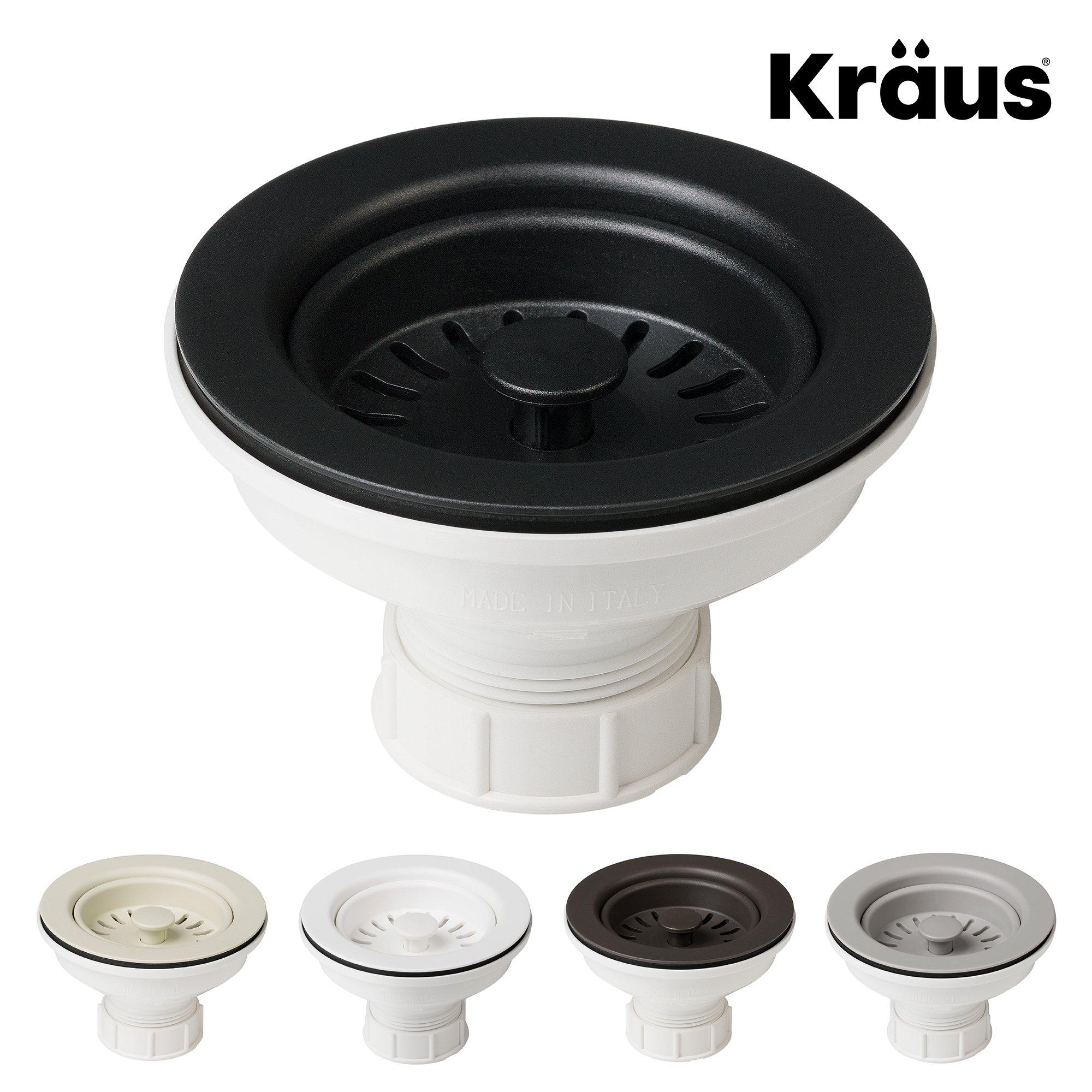 Kraus Kitchen Sink Strainer for 3.5-Inch Drain Openings in Black