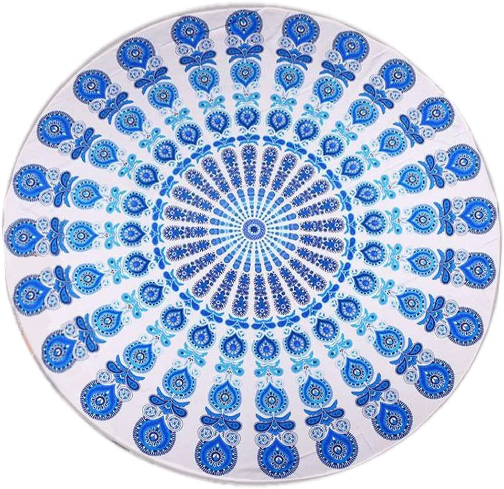 Barelove Indian Mandala Round Table Cloths Hawaii Sunproof Beach Throw Tapestry Hippy Boho Gypsy Tablecloths 60 Inches, Great for Home Decor Party Outdoor Camping