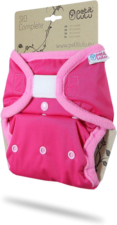 Baby Regenbogen SIO Komplett Hergestellt in EU | Klett One Size SIO Complete Waschbar /& Wasserdicht Pink 4-15 kg Bambus Stoffwindeln Petit Lulu AI2 Komplettwindel