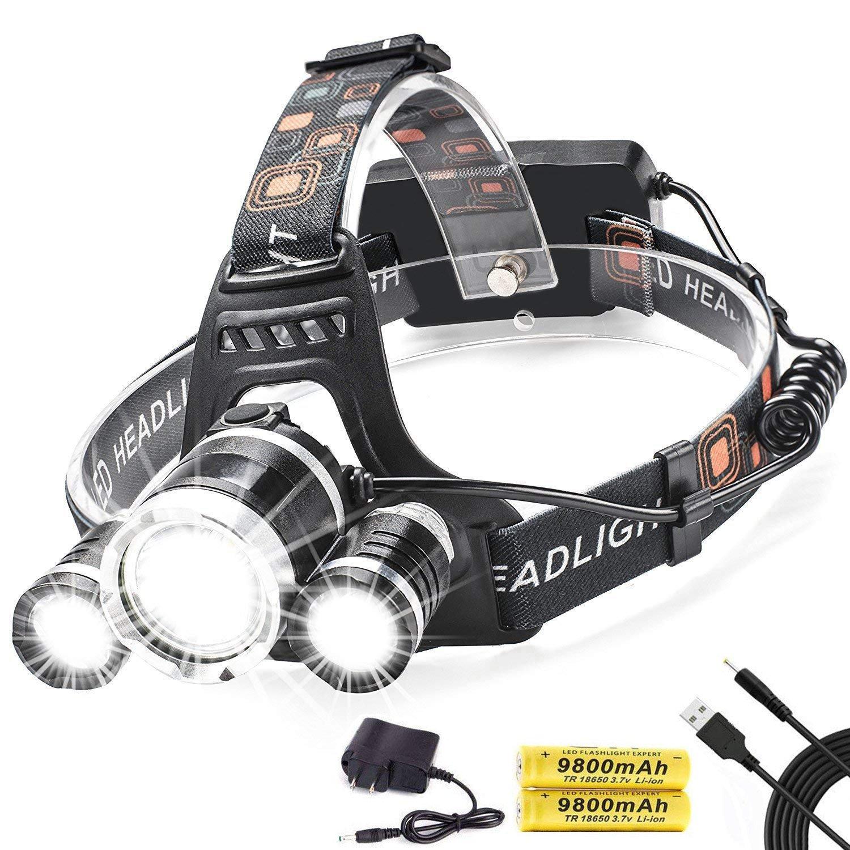 Led Headlamp,AstaaCity Brightest 8000 Lumen Flashlight,Rechargeable 18650 Headlight Flashlights Waterproof Hard Hat Light,Best Head Lights for Camping Running Hiking