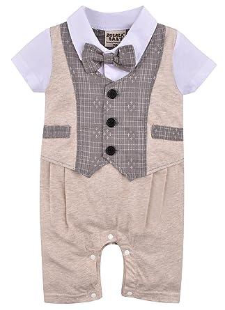 9ef6e8b77a04c ZOEREA(ゾエレア) ベビースーツ 男の子用ボディースーツ 赤ちゃんシューズ 紳士風 半袖シャツ