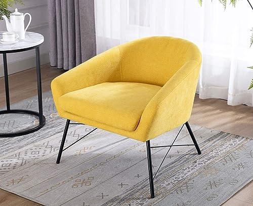 Guyou Modern Fabric Accent Lounge Chair,Upholstered Barrel Single Sofa Chair Deep Seat