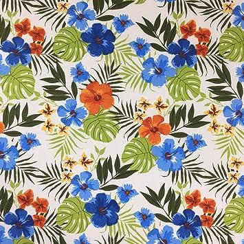 Creme Hawaii Muster, 100% Baumwolle feines Gewebe Blumenmuster Kleid ...